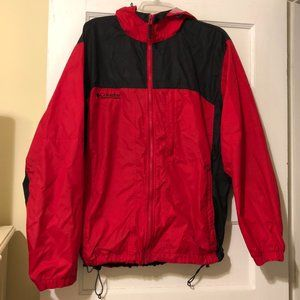 Columbia Red Large Full Zip Hooded Wind Breaker